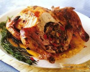 Фаршированная курица в духовке