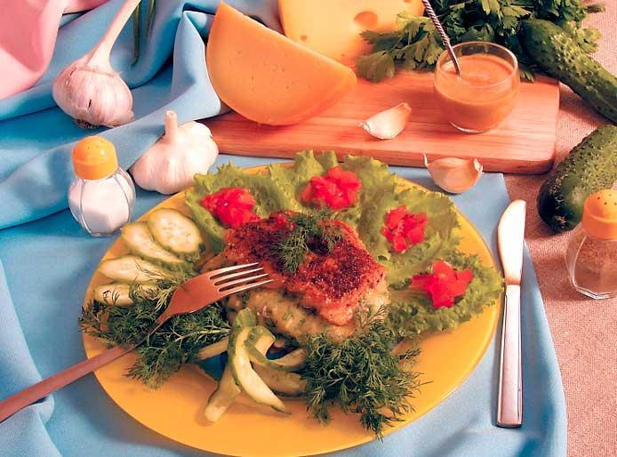 Свинина, фаршированная зеленью и сыром