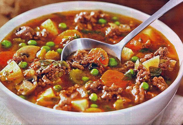 Густой суп из говядины с овощами