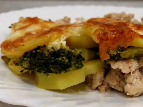 Картофельная запеканка с брокколи.