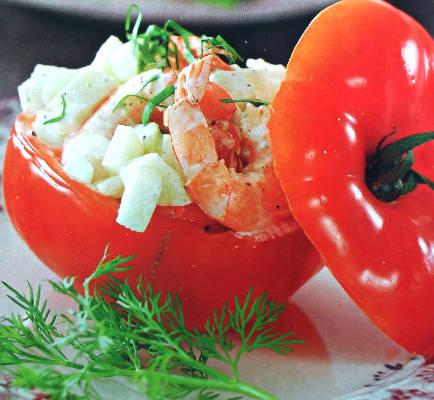 Фаршированные помидоры с креветками и яблоками