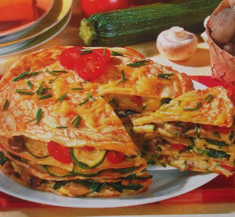 Закусочный торт с кабачками и шампиньонами