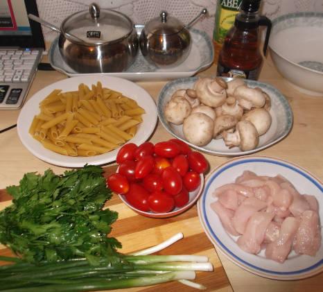 Ингредиенты на салат с макаронами