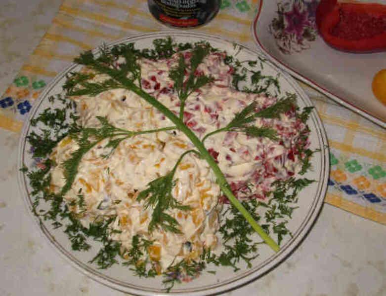 """Праздничный легкий салат """"Осенний листочек"""""""