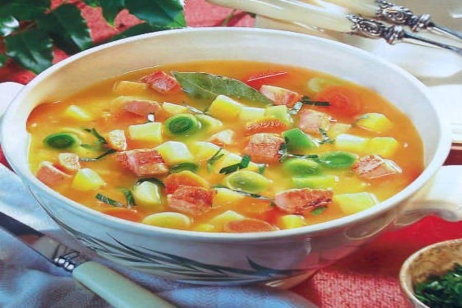 """Овощной суп с репой и свининой """"Осеннее настроение"""""""