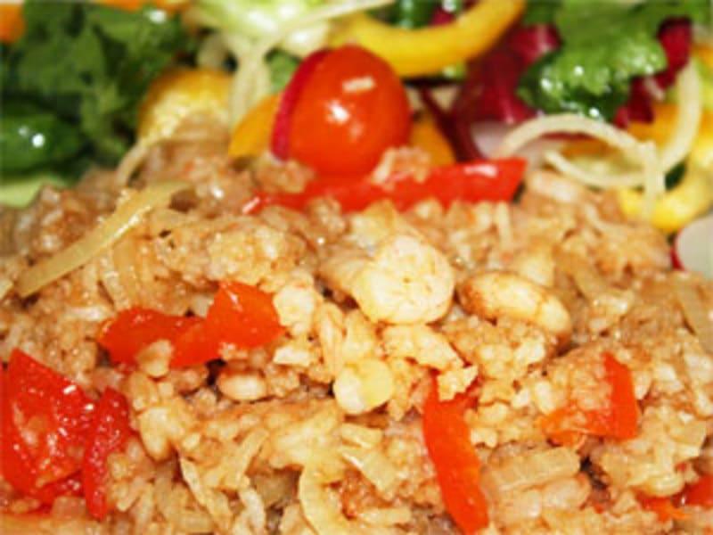 Рис с креветками и болгарским перцем