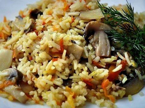 """Постный плов с грибами """"Вегетарианский"""""""