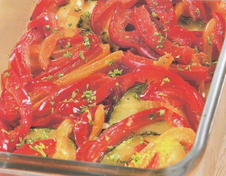 Постная запеканка с баклажанами и помидорами