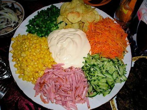 """Полезный постный салат из овощей """"Козел в огороде"""""""