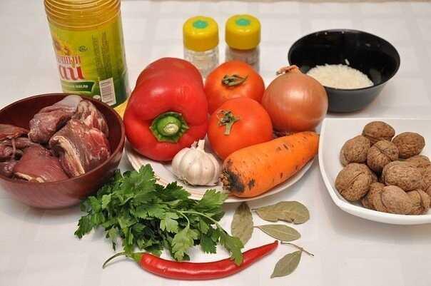 Продукты для приготовления супа Харчо