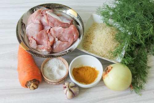 Продукты для приготовления восточного плова со свининой